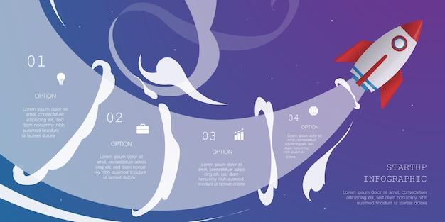 Raketen-infografik mit 4 optionen