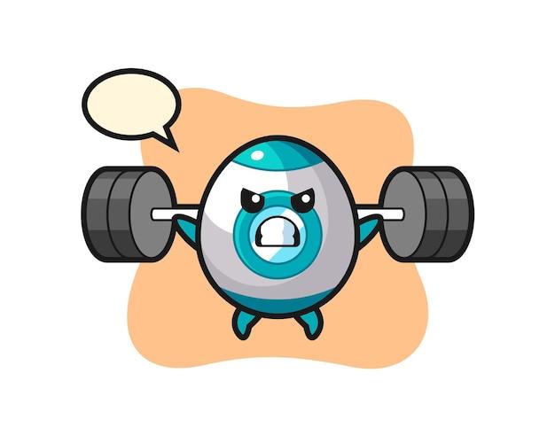 Raketen-maskottchen-cartoon mit einer langhantel, süßes design für t-shirt, aufkleber, logo-element