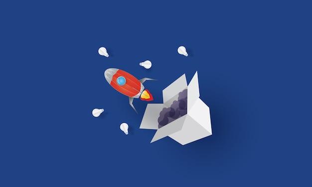 Raketen-mittagessen aus der box, think out of the box, geschäftskonzept