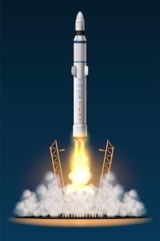 Raketen werden von der station in den weltraum geschossen. isolierter satz des raketenstarts. illustration im 3d-stil
