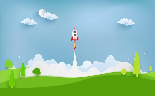 Raketenabbildung, die über wolke fliegt