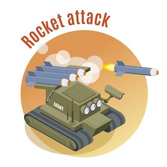 Raketenangriffsrunde mit shooter-roboterpanzer in isometrischer kriegsaktion