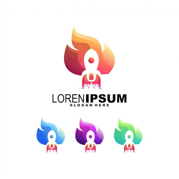Raketenfeuer farbenfrohes logo