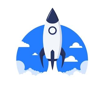 Raketenillustration im flachen design starten