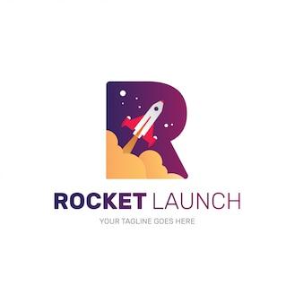 Raketenlogo für startup-unternehmen, anfängliche r-form