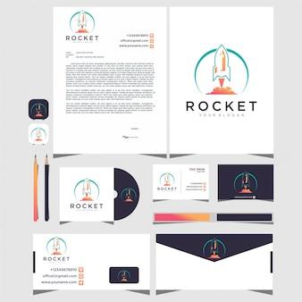 Raketenlogo mit briefpapier