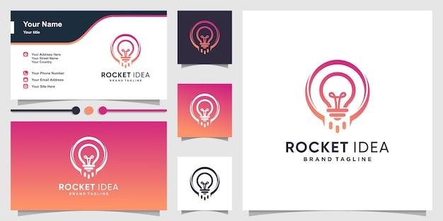 Raketenlogo mit intelligentem ideenkonzept und visitenkarte