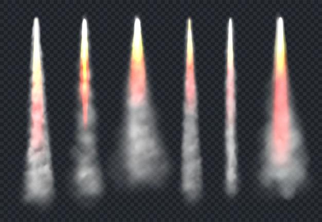 Raketenrauch starten. flugzeugflugeffektnebel und feuergeschwindigkeit fließender himmeldampf realistische vorlagen