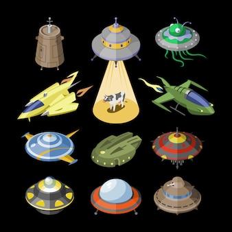 Raketenraumschiff oder raketenschiff und raum-ufo-illustrationssatz des beabstandeten schiffs oder raumfahrzeugs, das im universumsraum auf schwarzem hintergrund fliegt
