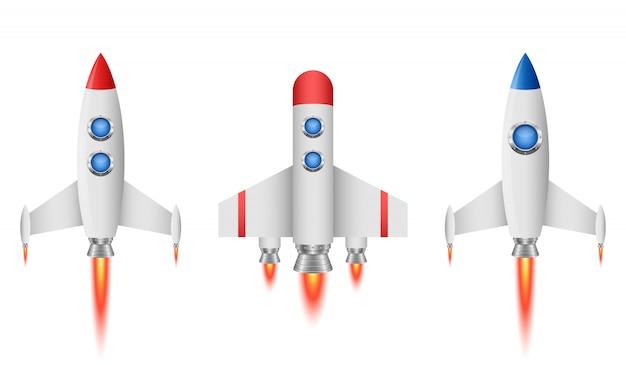 Raketenraumschiffillustration auf weißem hintergrund