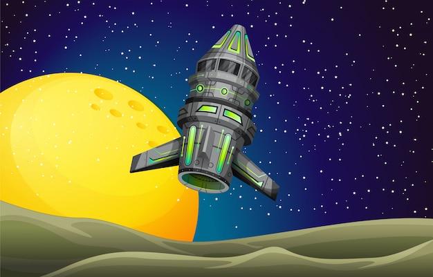Raketenschiff fliegen in den himmel