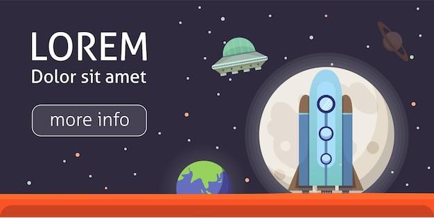 Raketenschiff im cartoon-stil. neue unternehmen innovation entwicklung flat design icons vorlage. raumschiffe illustrationen gesetzt.