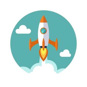Raketenschiff im flachen stil. abbildung des start- und entwicklungsprozesses.
