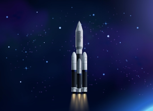 Raketenschiff im weltraumhintergrund