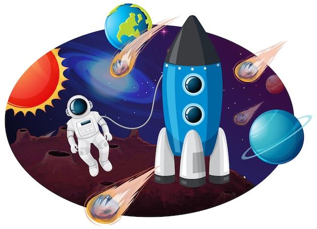 Raketenschiff mit vielen planeten und asteroiden