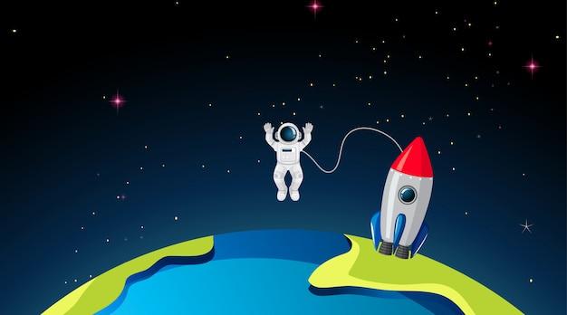 Raketenschiff und astronaut auf der erde