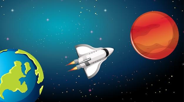 Raketenschiff und planeten szene