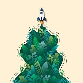 Raketenschiff und tropisches grünes blatt mit geschäft beginnen oben konzepthintergrund