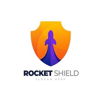 Raketenschild-logo rakete mit schildverlaufslogoschablone