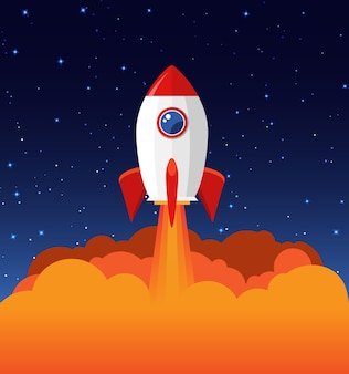 Raketenstart-abbildung. produktgeschäft start konzept design schiff vektor technologie hintergrund.