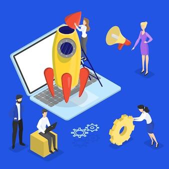 Raketenstart als metapher des starts. geschäftsentwicklungskonzept. konzept des unternehmertums. menschen arbeiten in gesellschaft zusammen. eben