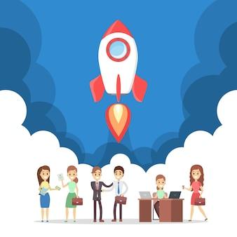 Raketenstart als metapher des starts. geschäftsentwicklungskonzept. konzept des unternehmertums. menschen erzielen erfolg. eben