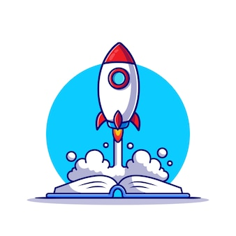 Raketenstart auf buchillustration