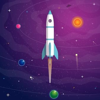 Raketenstart auf weltraumhintergrund mit planeten