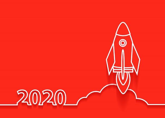 Raketenstart des neuen jahres des vektors 2020, startgeschäftsideenkonzeptdesign