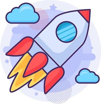 Raketenstart des raumschiffs fliegt zum weltraumvektor