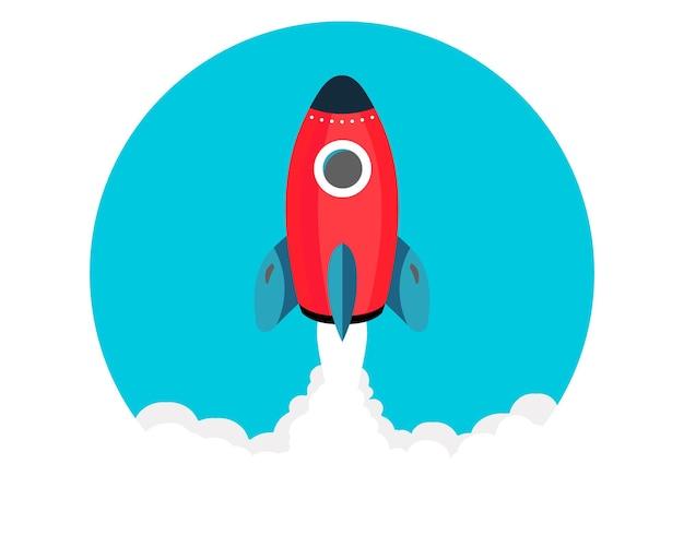 Raketenstart/fliegen über wolken.. neugeschäftsprojekt-start-up-entwicklung und einführung eines neuen innovationsprodukts auf einem markt