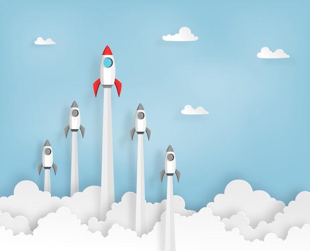 Raketenstart in den himmel beim start, führungskonzept des geschäfts oder projekts.