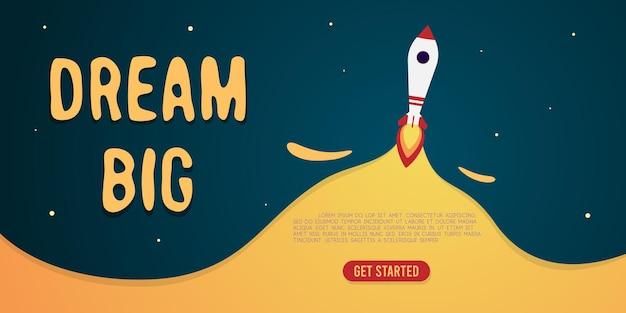 Raketenstart in den himmel fliegen. einfacher moderner cartoon im flachen stil.