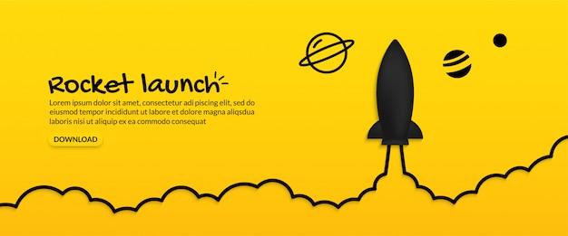 Raketenstart in den weltraum auf gelbem hintergrund, unternehmensgründungskonzept