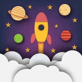 Raketenstart in den weltraum mit planeten und sternen im papierkunstdesign. illustration.