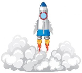 Raketenstart in den Wolken