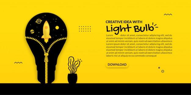Raketenstart innerhalb der glühbirne mit öffnendem reißverschluss, wachsende idee auf gelbem hintergrund