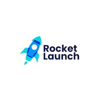 Raketenstart-logo isoliert auf weiß