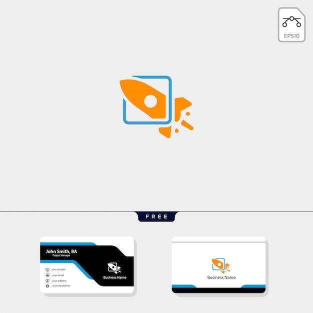 Raketenstart-logo-vorlage, erhalten sie kostenlose visitenkarte-design