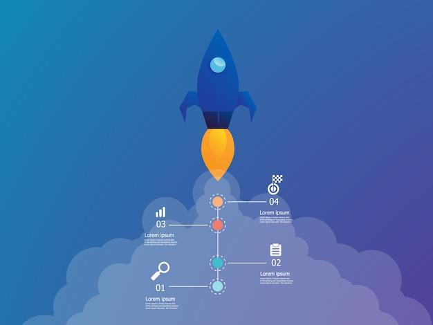 Raketenstart mit vertikalen infografiken in 4 schritten