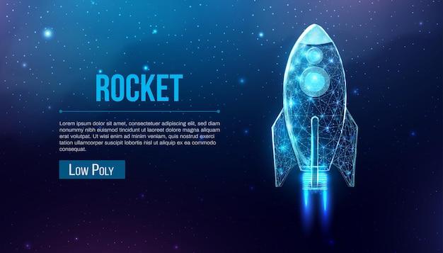 Raketenstart, polygonaler drahtmodell-stil. internet-technologie-netzwerk, business-startup-konzept mit leuchtender low-poly-rakete. futuristischer moderner abstrakter hintergrund. vektor-illustration.