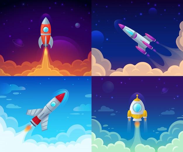 Raketenstart. raumfahrt, galaxie-raketenschiff und unternehmensplanerfolg beginnen karikaturillustration