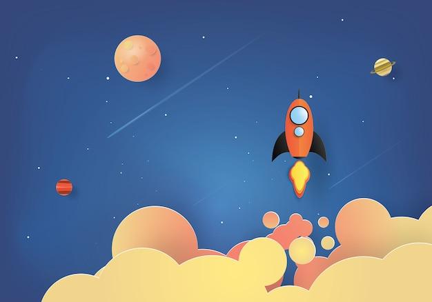 Raketenstart, start-up-konzept