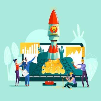 Raketenstart und teamarbeit an der steuerung