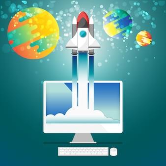 Raketenstart vom computer desktop zum weltraum