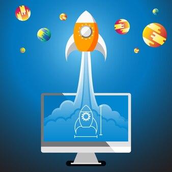 Raketenstart von der skizze im computerdesktop zum raum