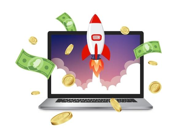 Raketenstart-website-computer-konzept-vektor-illustration. business start raketenstart eps 10