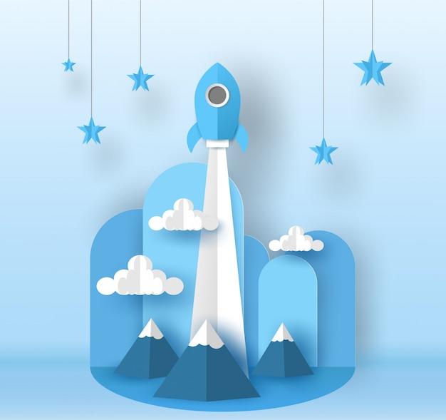 Raketenstart zum blauen himmel über dem berg gehen zum stern. vektor-design in papierschnitt.