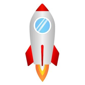 Raketensymbol für geschäft beginnen oben konzept. monochrome flache design.