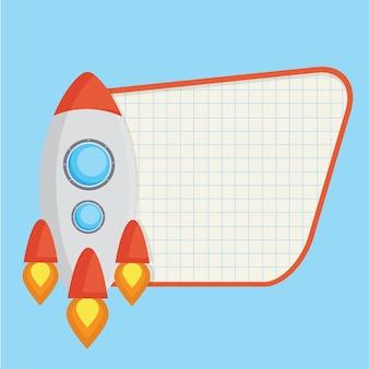 Raketenvektordesign mit copyspace
